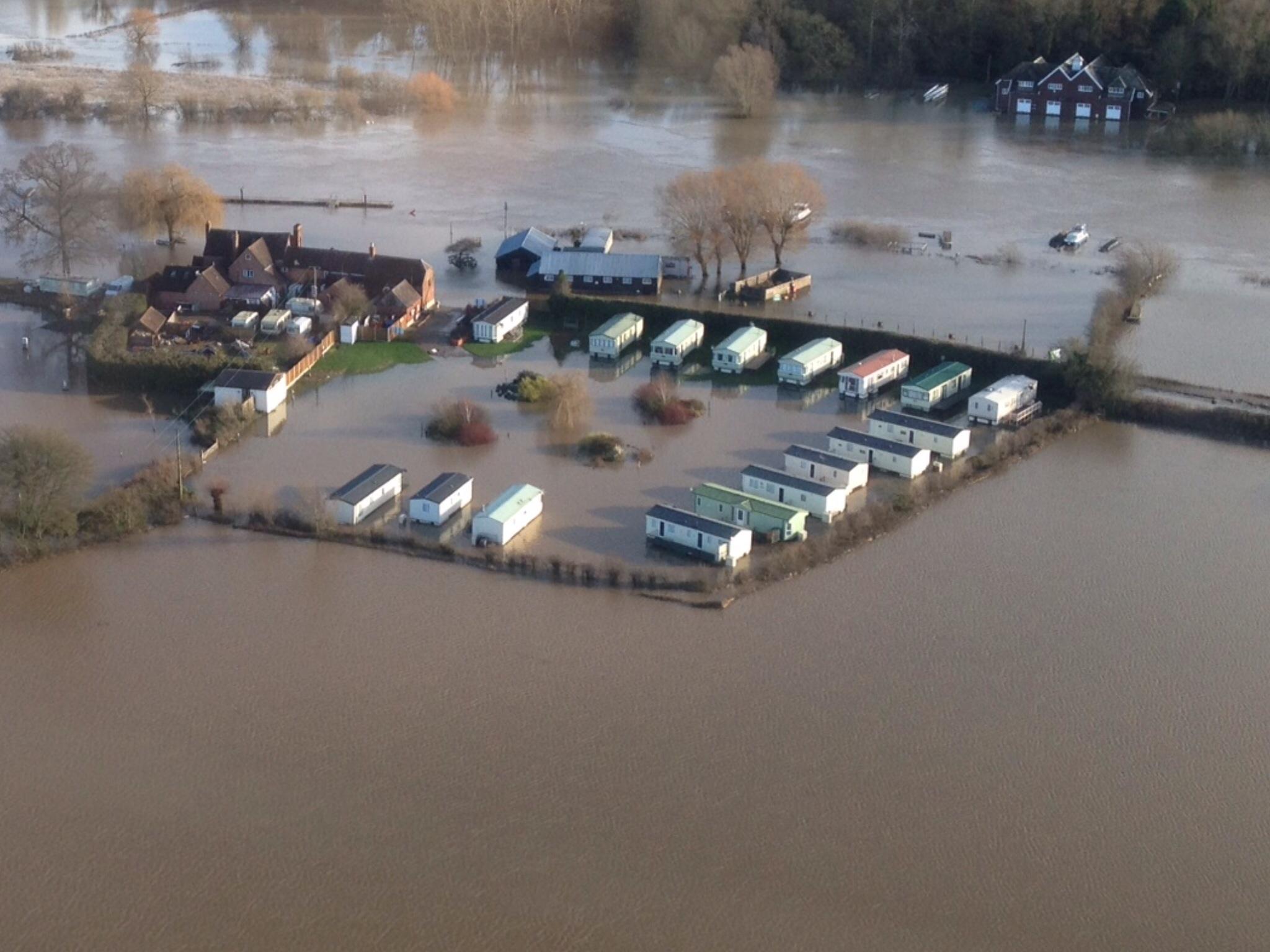 UK floods - caravan park
