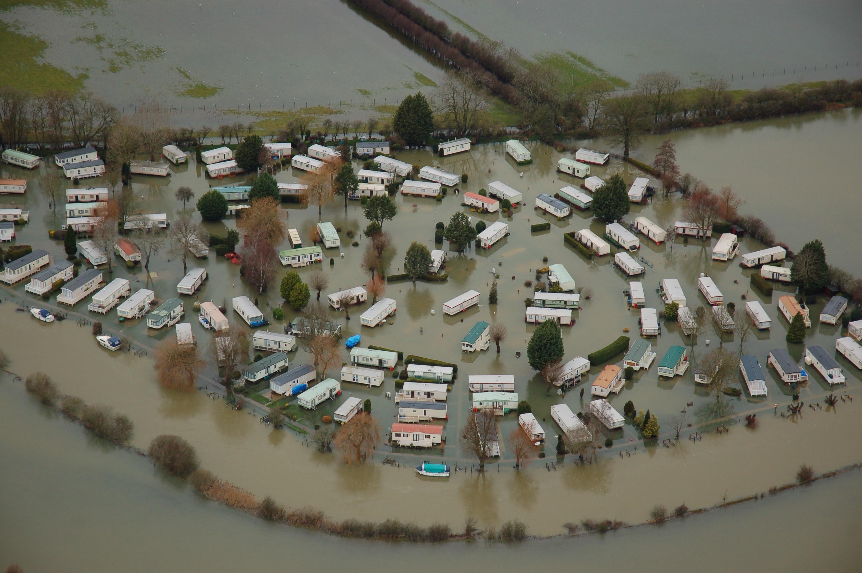 Flooded caravan park near Oxford