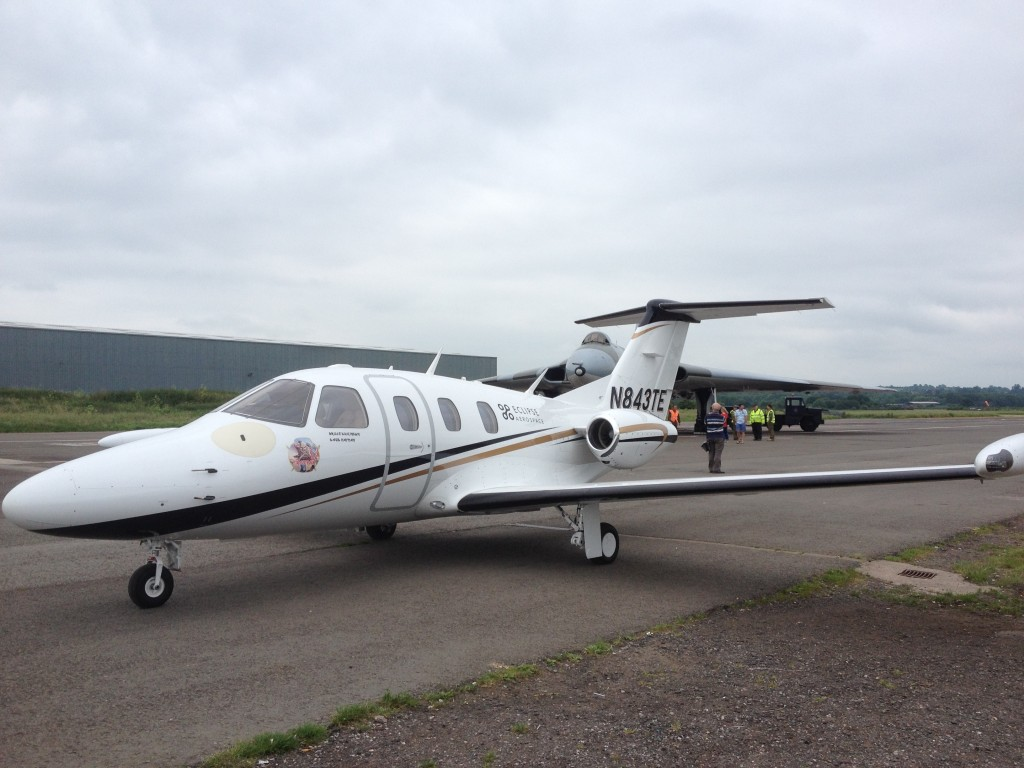 We photographed the Eclipse 550, the small business jet flown by Bruce Dickinson with Aeris Aviation, at Wellesbourne in June